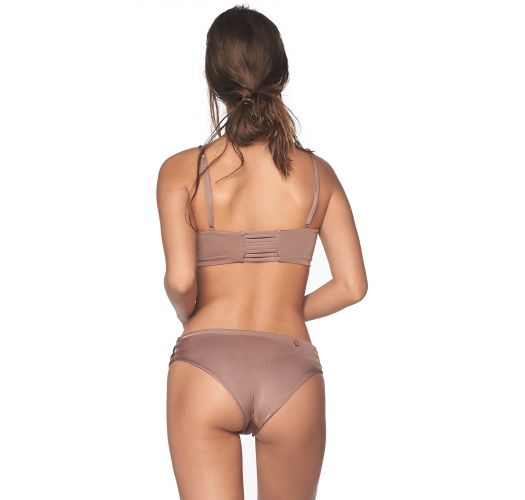 Iridescent taupe bikini with decorative straps - BENEGAL SPARKLY TAUPE