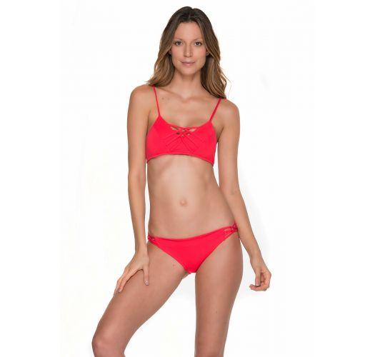 Red bikini bra top with strappy detail - CHIEF TRI CHERRY