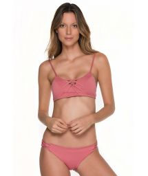 Pink bra top bikini with strappy details - CHIEF TRI ROSE