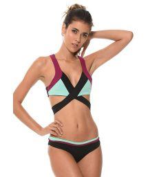 Cross-front three-colour bikini - COLOR BLOCK ONYX