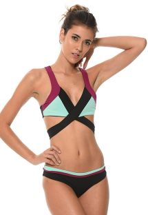 Cross-front three-colour bikini - COLOR BLOCK ONYX