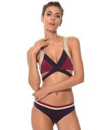 Purple cross-front bikini - COLOR BLOCK RAISIN