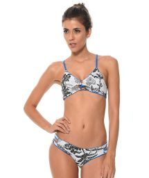Reversible tropical-print / plain blue bikini - COSTA TROPICAL
