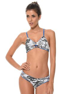 Bikini reversibile tropical/blu liscio - COSTA TROPICAL