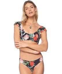 Brasiliansk bikini med rosmotiv och knyteffekter fram/bak - EBONY ROSE JULIET PARAMOUNT