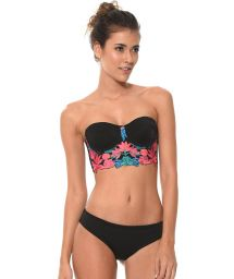 Black bikini featuring a balconette top with enbroidered insert - FLOWER REEF