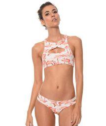 Flamingo print crop bikini with cutouts - FUN FLAMINGO