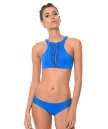 Blue crop top bikini with macrame inserts - HAPPY HATCH AZUL
