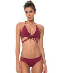 Prune multi-strap cross-front triangle bikini - LIGHT CORDY