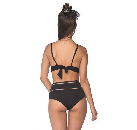 Bikini vita alta nero con dettagli trasparenti - LINE FREE BLACK