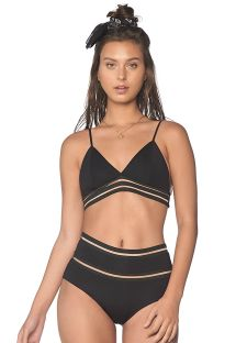 High-waist black bikini with transparent details - LINE FREE BLACK