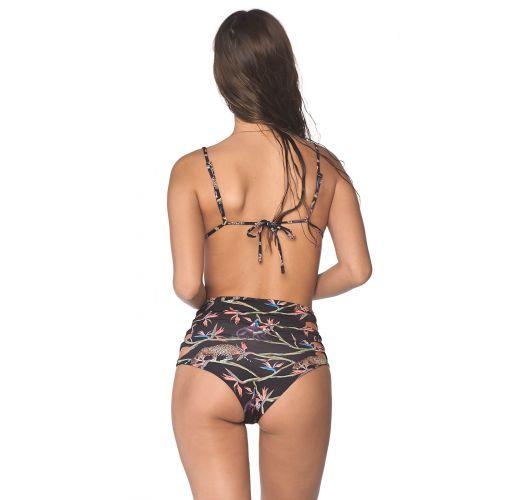 Black tropical side laced high-waisted bikini - MARMARA AFRICAN DREAM