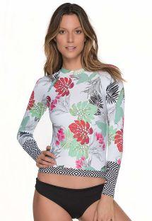 Biquíni c/ blusa de natação, padrão floral/geométrico - MERRY BLOSSOM