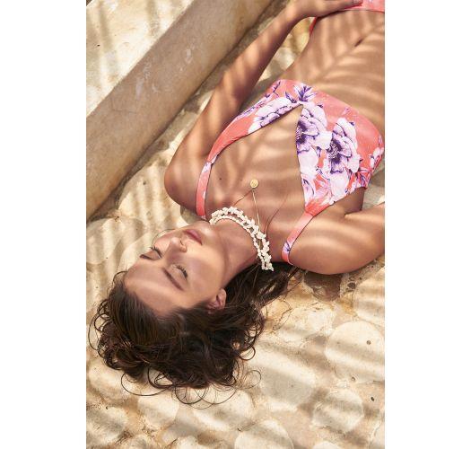 Orange floral crop top bikini with cheeky bottom - SEAMLESS BLOSSOM LILAS