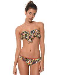Tropical bandeau bikiniwith frill - SUMMER BIRD