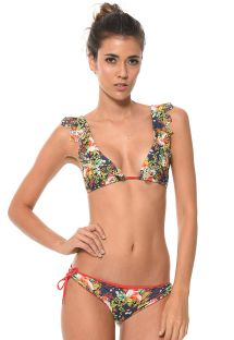 Tropical print triangle bikini with ruffle detail - SUMMER FRUFRU