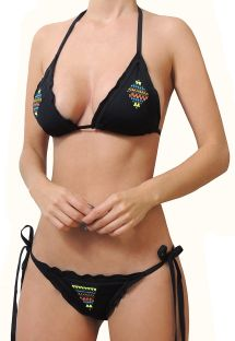 BBS X MAR DE ROSAS - Brazilian scrunch black bikini with embroidery - ESPIRITU NEGRO