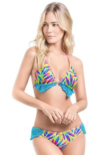 Bikini estampado y crochet  de top triangular - MAMBO DEL MAR