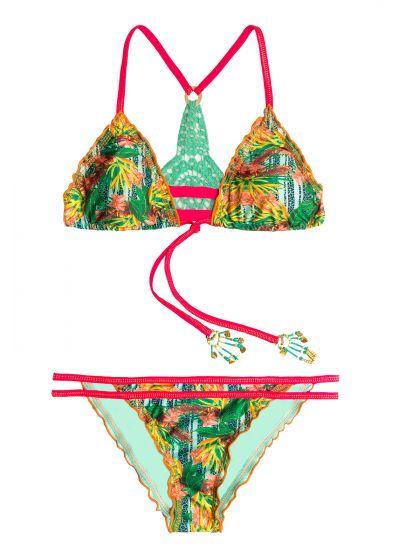 Tropical scrunch bikini with beads and crochet back - MAR AMAZÓNICO