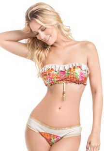 Patterned bandeau bikini with contrasting ruffles - MAR DE AMBAR