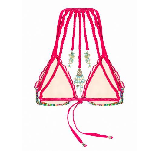Triangel-Bikini mit Tropenprint, Schnurdekor - MAR DE CRISTALES