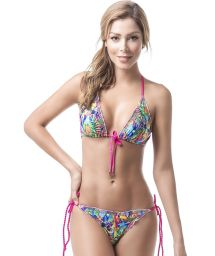Tropical scrunch bikini with accessorized pink ties - MAR DE CRISTALES