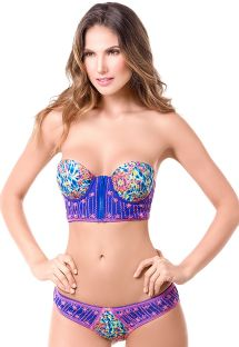 Zip-up printed bustier bikini with broderie - MAR DE FIESTA