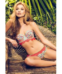 Printed balconette bikini with laser cut-outs - MAR DE HELICONIA