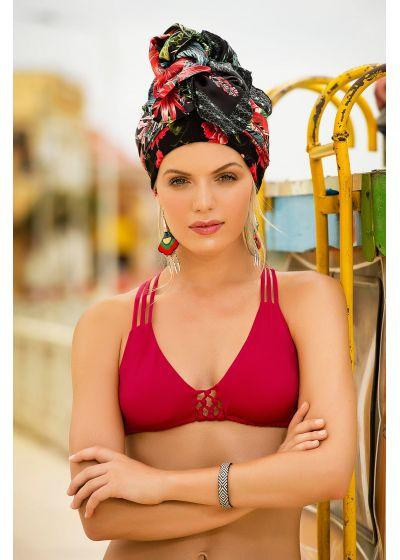Red bikini with macrame details - MAR DE LIBERTAD