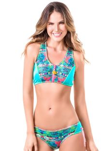 Sport-style, racer-back, zip-top bikini - MAR DE MANGLAR