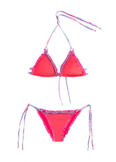 Pink scrunch bikini embroidered with pearls and fringes - MAR DE PASIÓN UNICOLOR