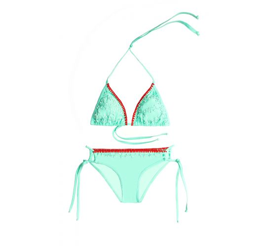 Water green scrunch bikini embroidered with pearls - MAR DE SIETE COLORES