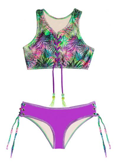 Laced crop top bikini with beaded pompoms - MAR FORESTAL HALTER