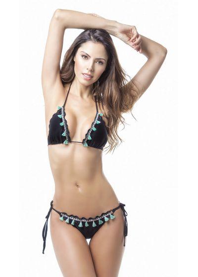 Black scrunch bikini with fringed pom-poms - MAR NATIVO