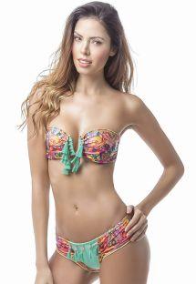 Farbenfroher Bandeau-Bikini, Fransenpompons - MAR WAYUU