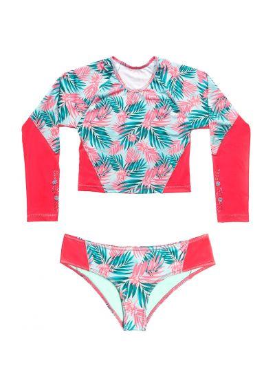 Pink & blue foliage rashguard bikini - PALMAS DEL MAR