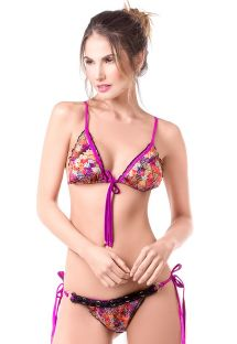 Printed triangle bikini with black macramé - RITMO DEL MAR
