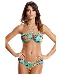 Bikini bandeau et bas à volants tropical - AQUARELA BRASILEIRA