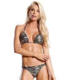 Schwarzer und goldener Bikini mit Tierprint - AREIAS E DUNAS