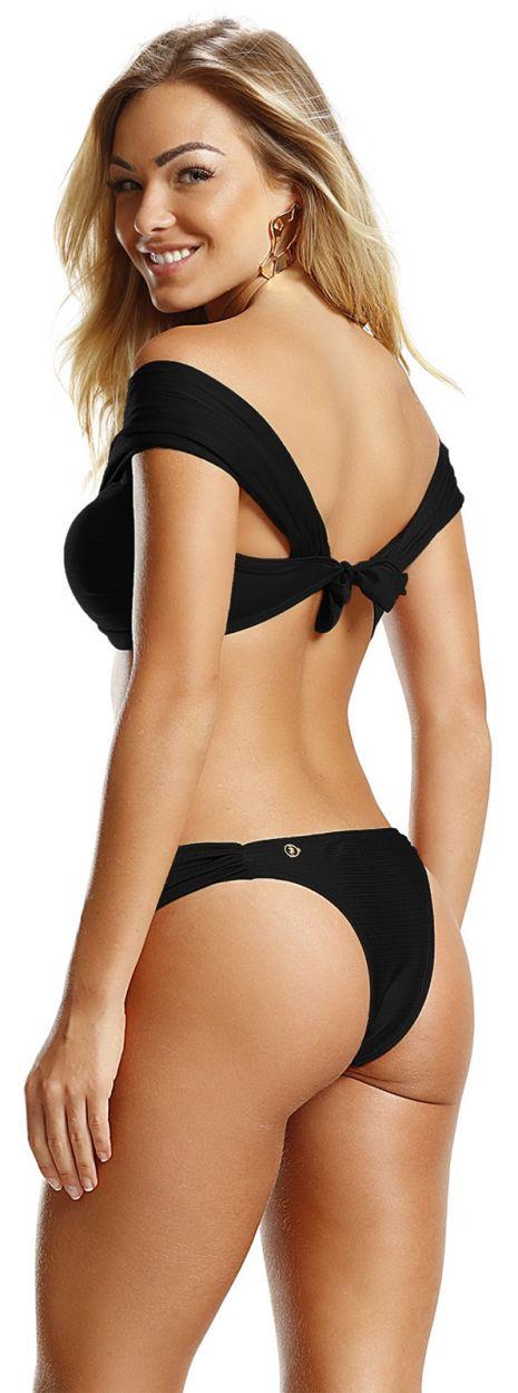 Satin black crop top bikini - Bardot style - BLACK LISOS