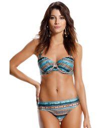 Underwired balconnette bikini in ethnic stripes - CINCO ESTRELA