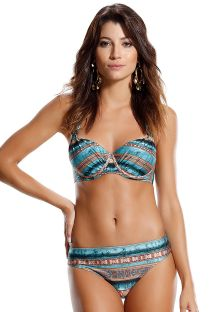 Underwired balconnette bikini in ethnic stripes - CINCO ESTRELA