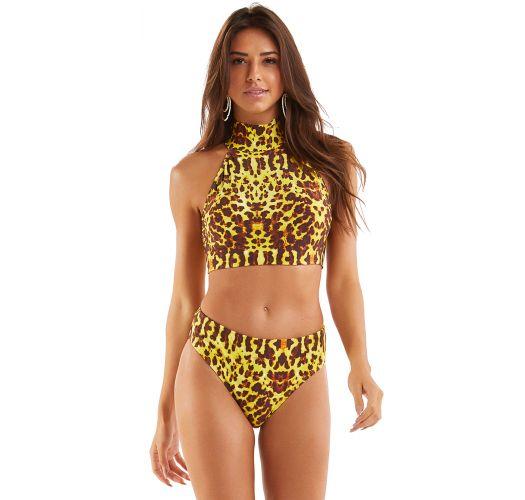 Yellow animal print high-waisted bikini with crop top - CROPPED PELE SELVAGEM