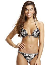 Black and white floral triangle bikini - FLORAL NATURE