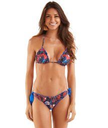 Bikini scrunch à nouettes imprimé réversible bleu - FRUFRU AGUAS DE BETTA