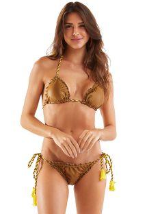 Reversible yellow camel Brazilian scrunch bikini - FRUFRU RICO