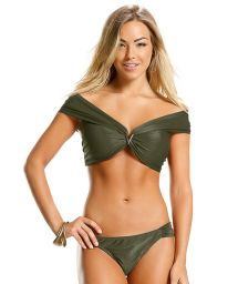 Bikini crop top encolure Bardot vert militaire - GREEN LISOS