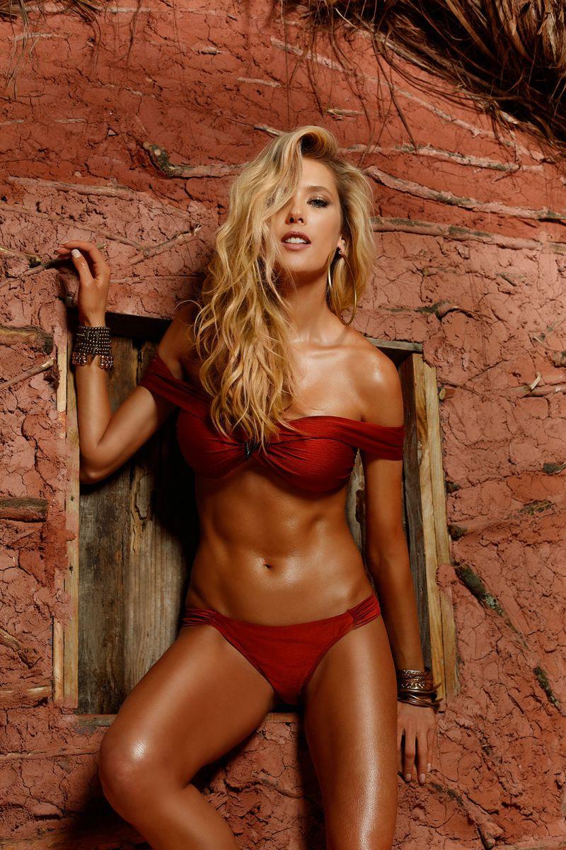 Mörkorange crop topp bikini med Bardot- övredel - HEAT LISOS