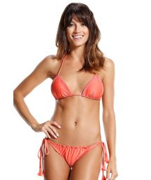 Brasilian Scrunch Bikini, korallenfarben, mit Perlen - IRIS LARANJA