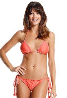 Bikini a triangolo corallo con perline e pompon - IRIS LARANJA
